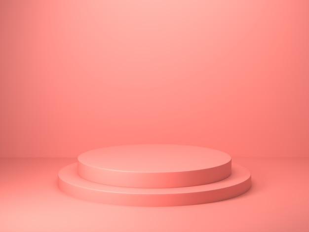 抽象的なピンク色の幾何学的形状の3 dレンダリング、表彰台のディスプレイまたはショーケースのモダンなミニマリストのモックアップ Premium写真