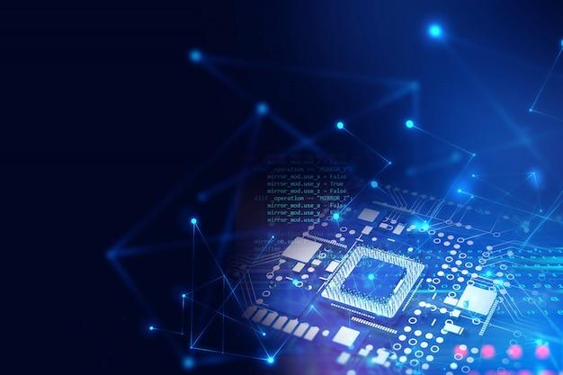 未来的な青い回路基板の3 dレンダリング Premium写真