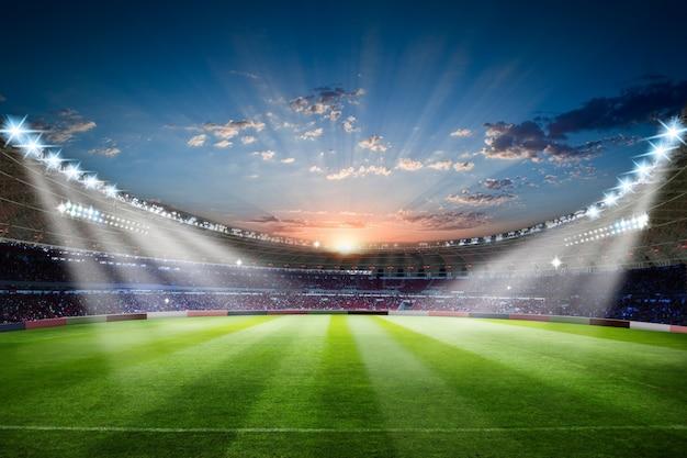 混雑したフィールドアリーナとフットボールスタジアム3 dレンダリングサッカースタジアム Premium写真