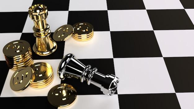 ビジネスコンテンツのチェスとゴールドコインの3 dレンダリング。 Premium写真