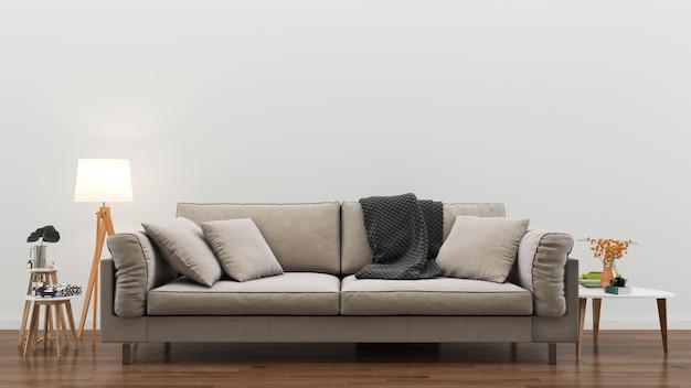 リビングルームのインテリア3 dレンダリングの背景の木の床の木製の壁のテンプレートデザイン Premium写真