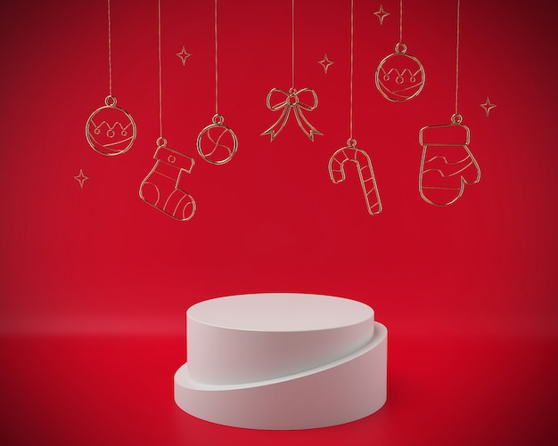 クリスマス3 dレンダリングシーン表彰台ディスプレイクリスマスオブジェクト抽象。 Premium写真