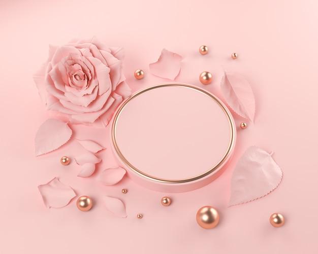 バラの花、ピンクの幾何学的形状の表彰台の背景、3 dレンダリングで抽象的なシーン。 Premium写真