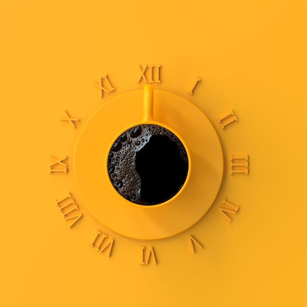 時間の間黄色いコップのブラックコーヒー。作業と休憩時間のアイデアコンセプト、3 dのレンダリング。 Premium写真