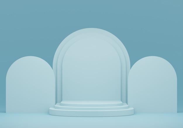ディスプレイ用のパステルブルーの台座。幾何学的形状の空の製品スタンド。 3 dのレンダリング。 Premium写真