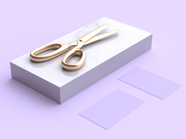 黄金のはさみの3 dレンダリング Premium写真