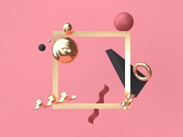 ゴールドの正方形フレーム赤ピンクの背景最小限の抽象的な幾何学的図形3 dレンダリング Premium写真