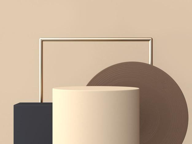 クリームシリンダーサークル茶色木目テクスチャ3 dレンダリング抽象的な幾何学的な表彰台 Premium写真