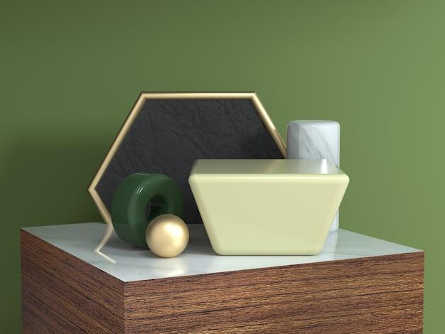 茶色木目テクスチャ正方形表彰台抽象的な幾何学的形状の静物設定3 dレンダリング六角形ゴールドフレーム黄色の正方形 Premium写真