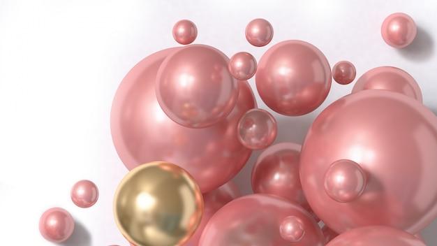 ピンクの球の抽象的な背景3 dレンダリング Premium写真