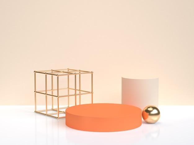最小限の抽象オランゴールドの幾何学的形状フォームホワイトクリームシーン3 dレンダリング Premium写真