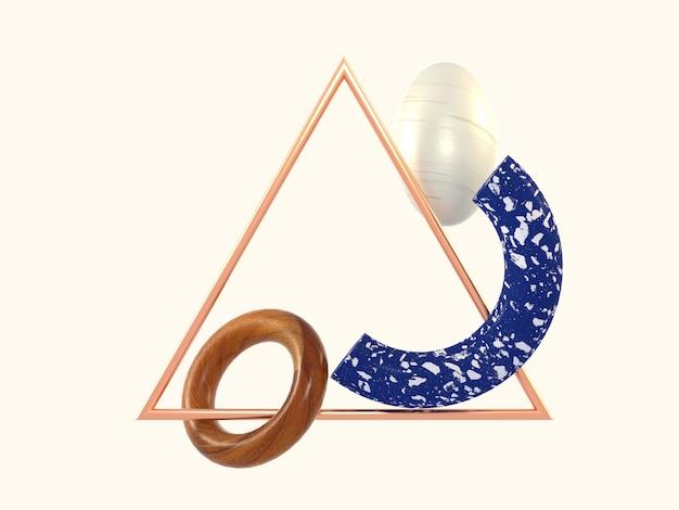 幾何学的抽象形青い大理石の木の三角形銅フレーム3 dレンダリング Premium写真