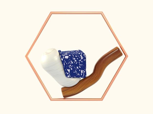 3 dレンダリングの抽象的な形の青い大理石の木製の六角形の銅フレーム Premium写真