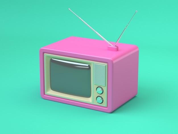 ピンクの古いテレビ漫画スタイル抽象ミニマルグリーンテクノロジーコンセプト3 dレンダリング Premium写真