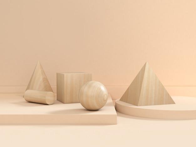 幾何学的形状グループセットウッドテクスチャブラウンシーン3 dレンダリング Premium写真