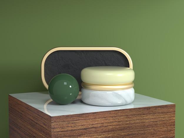 茶色の木の正方形の表彰台抽象的な幾何学的形状静物セット3 dレンダリングゴールドカーブフレーム Premium写真