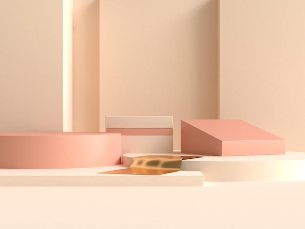 幾何学的形状の最小限の抽象的な壁クリームイエローオレンジ3 dレンダリング Premium写真