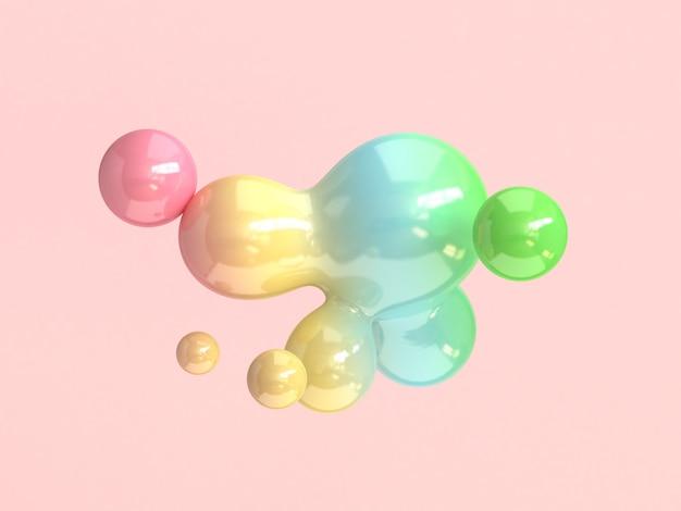 抽象的なバブル形状のカラフルな3 dレンダリング Premium写真