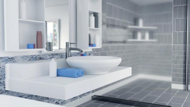 青いタオルで3 dレンダリングされたバスルームのインテリアデザイン Premium写真