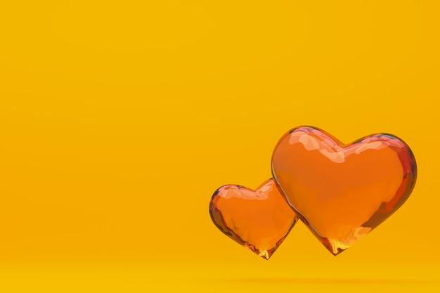 バレンタインデー、愛の日にハニーハートの黄色の背景3 dレンダリングの背景に蜂蜜の心 Premium写真