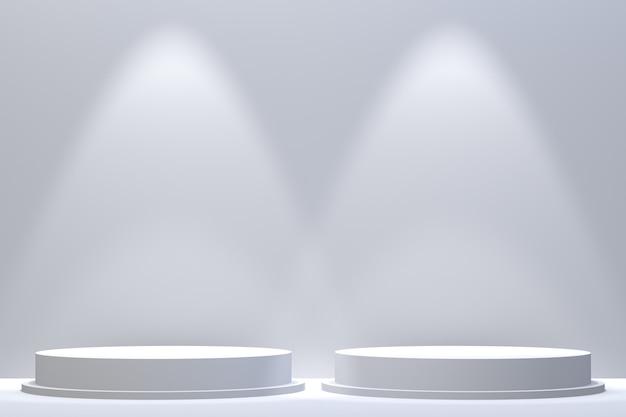 3 dレンダリング、化粧品プレゼンテーション、抽象的な幾何学的形状の表彰台最小限の抽象的な背景 Premium写真