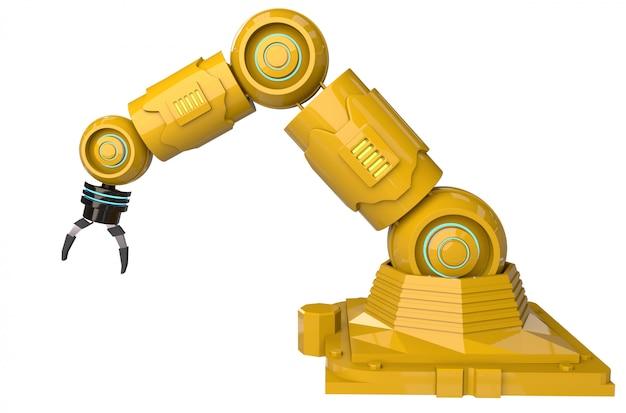 白い背景の上の3 dレンダリングロボットアームとオートメーション業界の概念 Premium写真