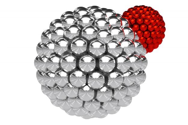 低ポリ金属球の抽象的な3 dレンダリング Premium写真