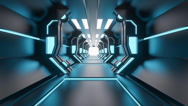 サイエンスフィクショングランジ損傷ネオンライト3 dレンダリングで照らされた金属製の廊下の背景 - イラスト Premium写真