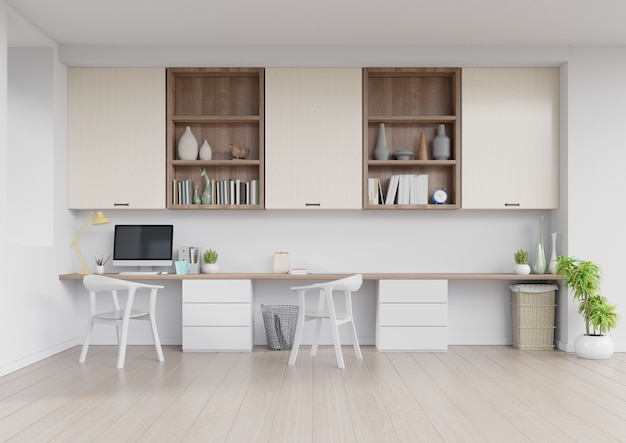白い壁の空の部屋、ミニマルなデザイン、3 dレンダリングの作業インテリアの正面図 Premium写真