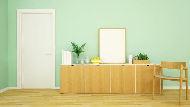 アパートや家のリビングエリアグリーントーン -  3 dレンダリング Premium写真