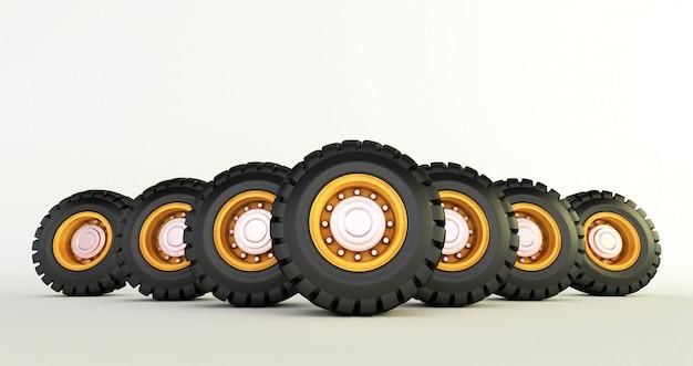 白い車の車輪に分離された車のタイヤの3 dレンダリングを設定します。 Premium写真
