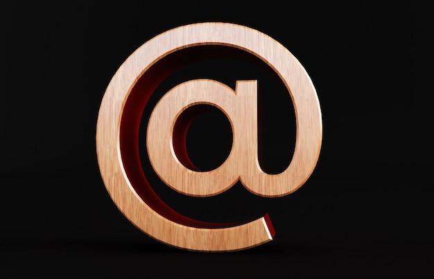 黒の背景に分離された木製のアットマークの3 dレンダリング。アロベース Premium写真