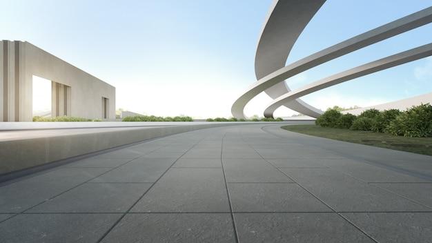 都市公園における空のコンクリートの床。青い空と屋外空間と未来の建築の3 dレンダリング Premium写真