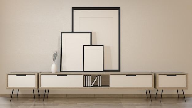 白い壁、3 dレンダリングの禅リビングルームのキャビネット Premium写真