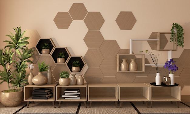 木製の六角形の棚と壁にタイル、木製のキャビネット、畳の床に木製の花瓶の装飾、3 dレンダリング Premium写真