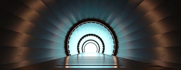 3 dのレンダリングされた廊下の抽象的な未来のスペーストンネルをレンダリングします。 Premium写真