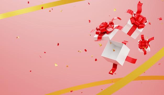 3 dレンダリングは、ギフトボックスとリボンの背景を開きます。クリスマスと新年あけましておめでとうございますお祝い。 Premium写真