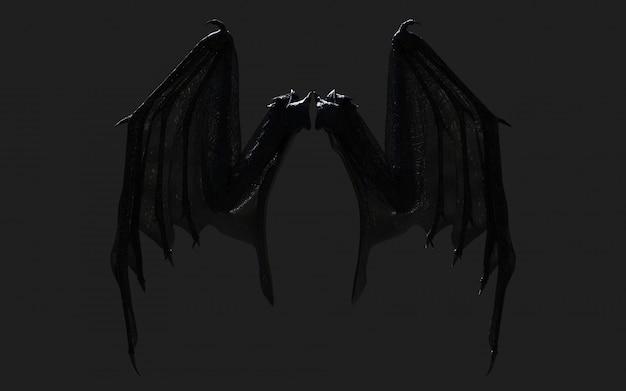 3 dイラストドラゴンの翼、悪魔の翼、クリッピングパスと黒に分離された悪魔の翼羽。 Premium写真