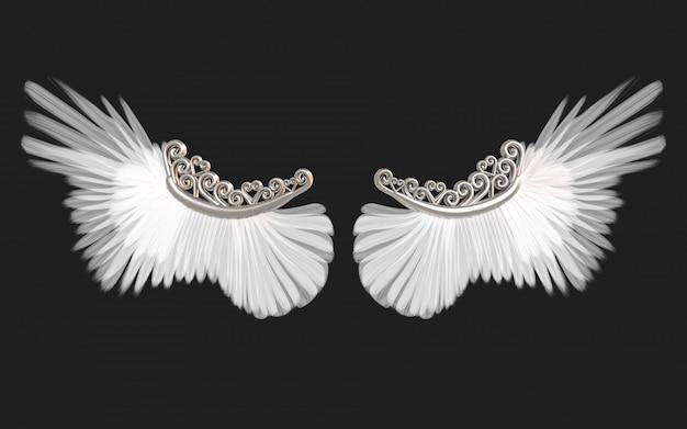 3 dイラスト天使の羽、白い翼羽のクリッピングパスと黒に分離されました。 Premium写真