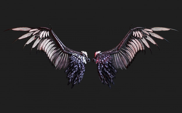 3 dイラスト悪魔の翼、クリッピングパスと黒に分離された黒翼羽。 Premium写真