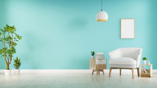 灰色のアームチェア付きのモダンなリビングルームには、木製の床と青い壁、3 dレンダリングにキャビネットと木製の棚があります。 Premium写真