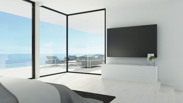 ビーチの寝室とテレビの壁/ 3 dレンダリング Premium写真
