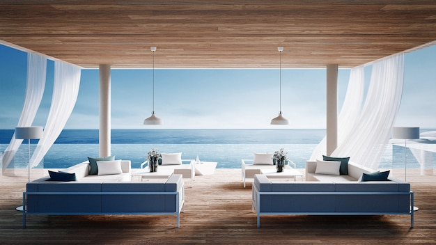 リビングビーチラウンジ - 休暇や夏の海の景色を望むオーシャンヴィラ/ 3 dレンダリングインテリア Premium写真