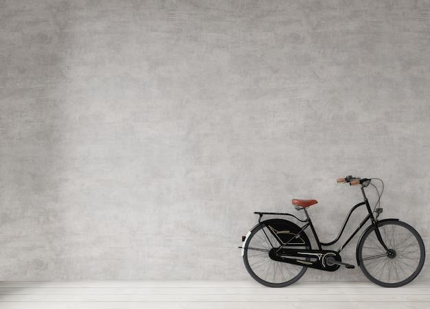 コンクリートの壁、最小限のスタイルの背景、3 dレンダリングで自転車 Premium写真