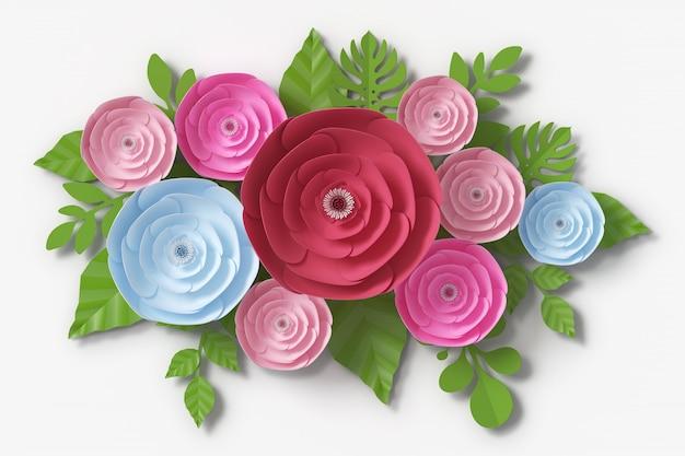 花の紙のスタイル、3 dレンダリング Premium写真