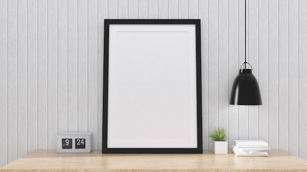 インテリアの背景、3 dのレンダリングとポスターフレームをモックアップします。 Premium写真