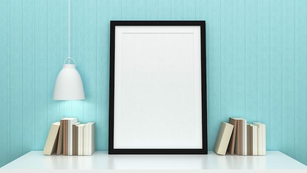 インテリアの背景、3 dのレンダリングとポスターフレームのモックアップ Premium写真