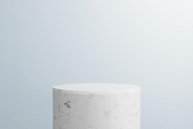 3 dレンダリングの抽象的な背景、モックアップシーン。白い大理石の表彰台と製品の青い背景。 Premium写真