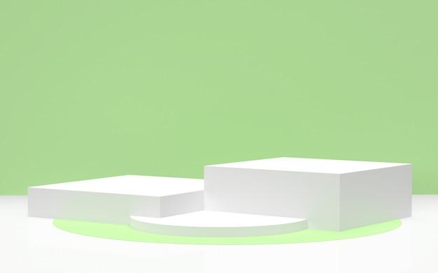 3 dレンダリング-環境に優しい製品を表示するための緑の背景を持つ白い表彰台 Premium写真