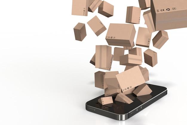 オンラインショッピング、スマートフォンのうち3 dのレンダリングボックス。 Premium写真